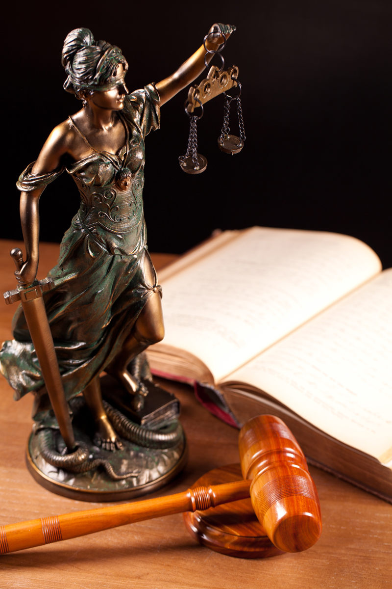 Temida statue, gavel and book